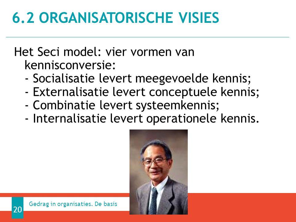 Het Seci model: vier vormen van kennisconversie: - Socialisatie levert meegevoelde kennis; - Externalisatie levert conceptuele kennis; - Combinatie levert systeemkennis; - Internalisatie levert operationele kennis.