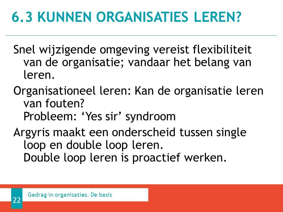 Snel wijzigende omgeving vereist flexibiliteit van de organisatie; vandaar het belang van leren.