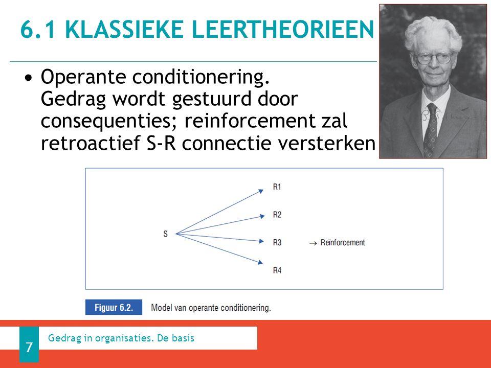 Operante conditionering. Gedrag wordt gestuurd door consequenties; reinforcement zal retroactief S-R connectie versterken. 6.1 KLASSIEKE LEERTHEORIEEN
