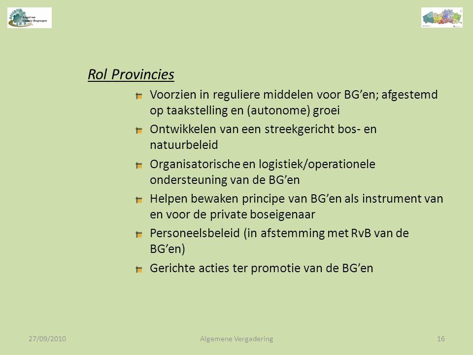 27/09/2010Algemene Vergadering16 Rol Provincies Voorzien in reguliere middelen voor BG'en; afgestemd op taakstelling en (autonome) groei Ontwikkelen van een streekgericht bos- en natuurbeleid Organisatorische en logistiek/operationele ondersteuning van de BG'en Helpen bewaken principe van BG'en als instrument van en voor de private boseigenaar Personeelsbeleid (in afstemming met RvB van de BG'en) Gerichte acties ter promotie van de BG'en