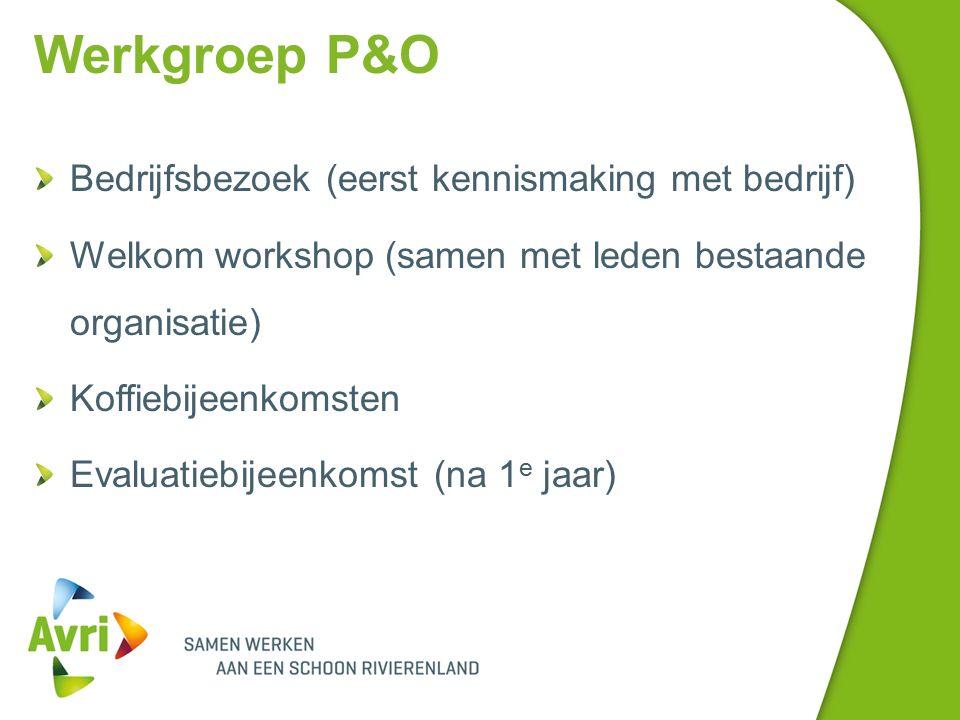 Werkgroep P&O Bedrijfsbezoek (eerst kennismaking met bedrijf) Welkom workshop (samen met leden bestaande organisatie) Koffiebijeenkomsten Evaluatiebijeenkomst (na 1 e jaar)