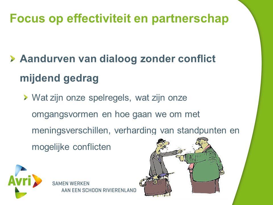 Focus op effectiviteit en partnerschap Aandurven van dialoog zonder conflict mijdend gedrag Wat zijn onze spelregels, wat zijn onze omgangsvormen en hoe gaan we om met meningsverschillen, verharding van standpunten en mogelijke conflicten