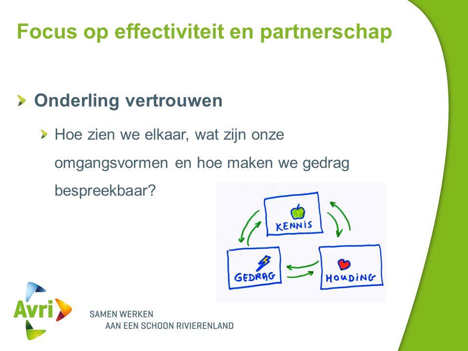 Focus op effectiviteit en partnerschap Onderling vertrouwen Hoe zien we elkaar, wat zijn onze omgangsvormen en hoe maken we gedrag bespreekbaar