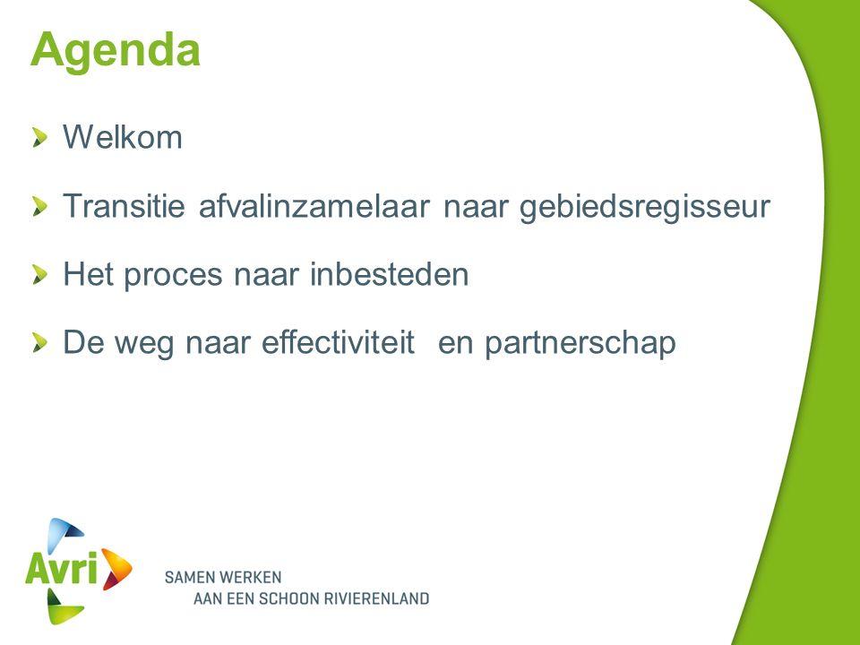 Agenda Welkom Transitie afvalinzamelaar naar gebiedsregisseur Het proces naar inbesteden De weg naar effectiviteit en partnerschap