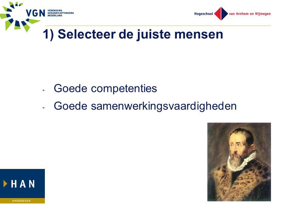 1) Selecteer de juiste mensen - Goede competenties - Goede samenwerkingsvaardigheden