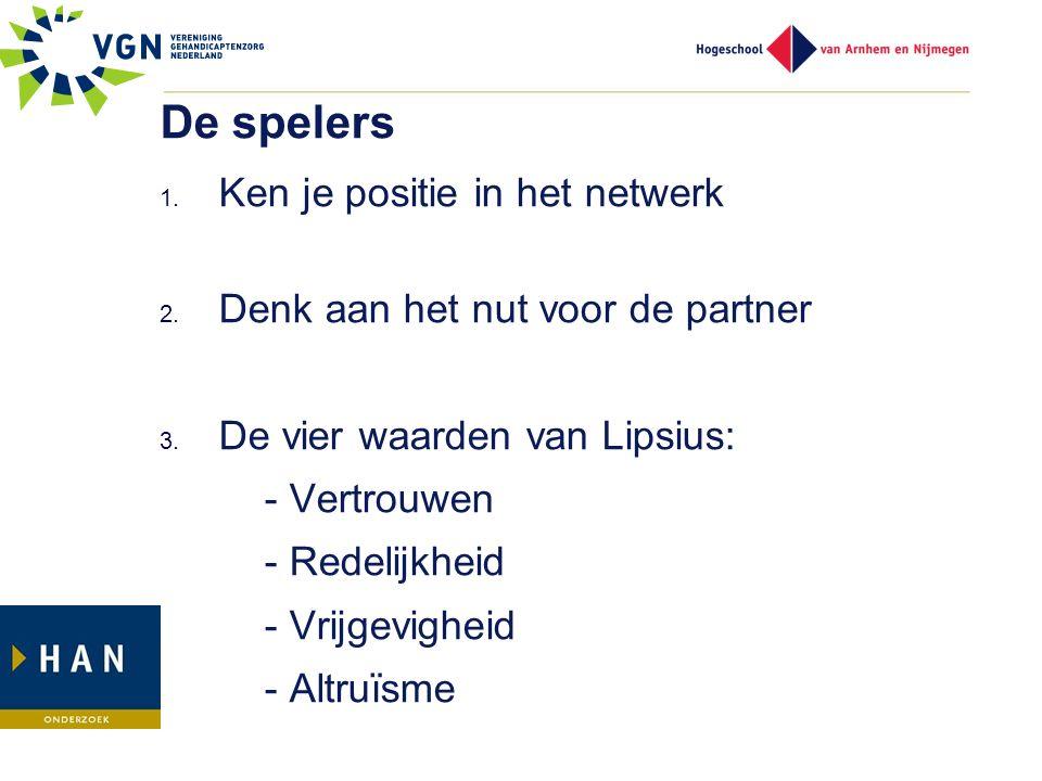De spelers 1. Ken je positie in het netwerk 2. Denk aan het nut voor de partner 3. De vier waarden van Lipsius: - Vertrouwen - Redelijkheid - Vrijgevi