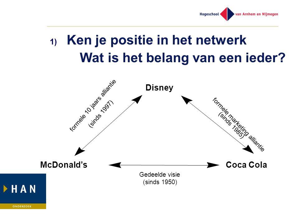 1) Ken je positie in het netwerk Wat is het belang van een ieder? Disney McDonald'sCoca Cola formele 10 jaars alliantie (sinds 1997) Gedeelde visie (s