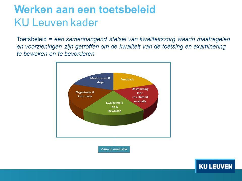 Werken aan een toetsbeleid KU Leuven kader Visie op evaluatie Toetsbeleid = een samenhangend stelsel van kwaliteitszorg waarin maatregelen en voorzien