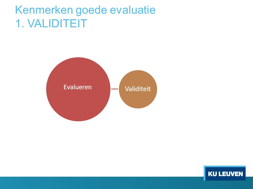 Kenmerken goede evaluatie 1. VALIDITEIT Validiteit Evalueren