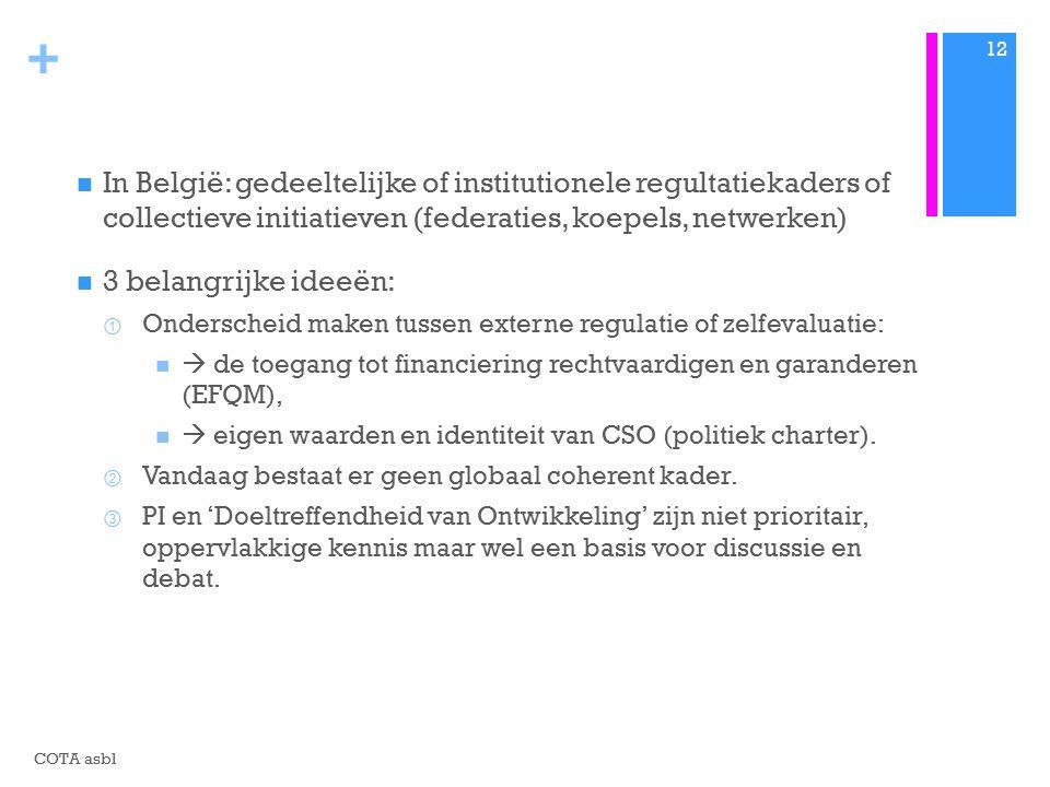 + In België: gedeeltelijke of institutionele regultatiekaders of collectieve initiatieven (federaties, koepels, netwerken) 3 belangrijke ideeën: ① Onderscheid maken tussen externe regulatie of zelfevaluatie:  de toegang tot financiering rechtvaardigen en garanderen (EFQM),  eigen waarden en identiteit van CSO (politiek charter).