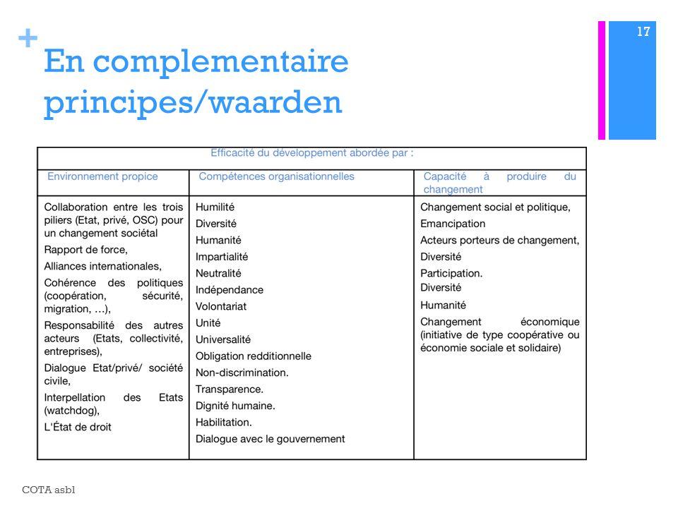 + En complementaire principes/waarden COTA asbl 17