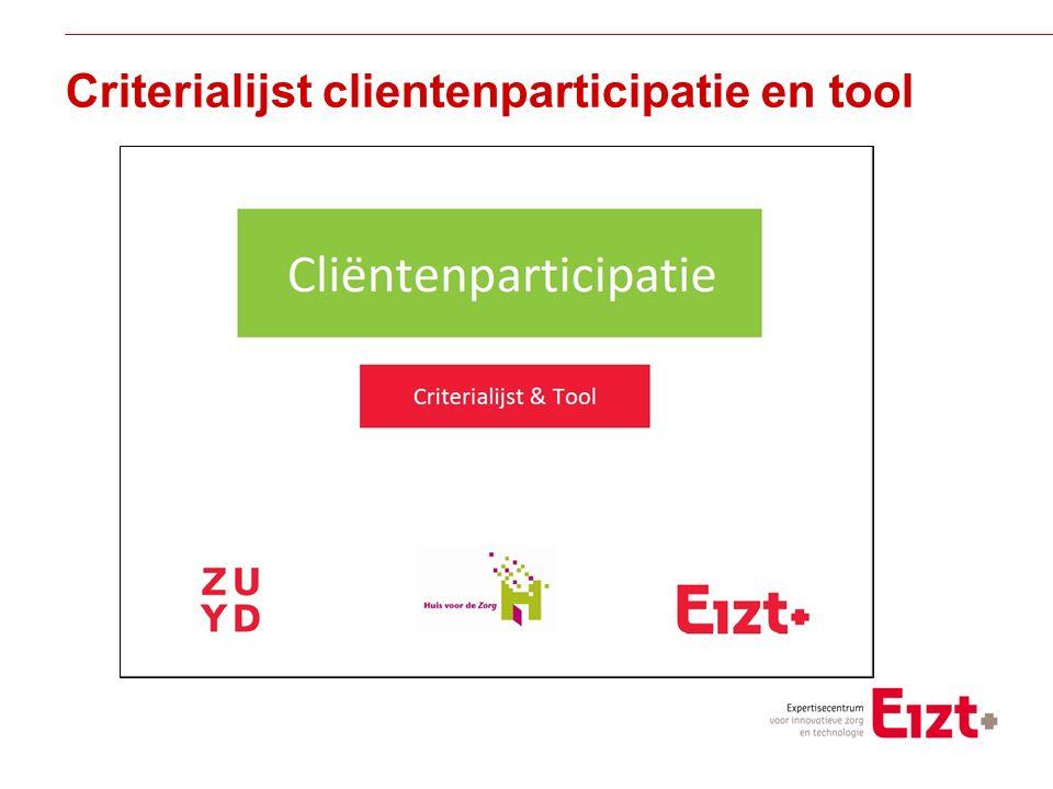 Visie Criterialijst clientenparticipatie en tool