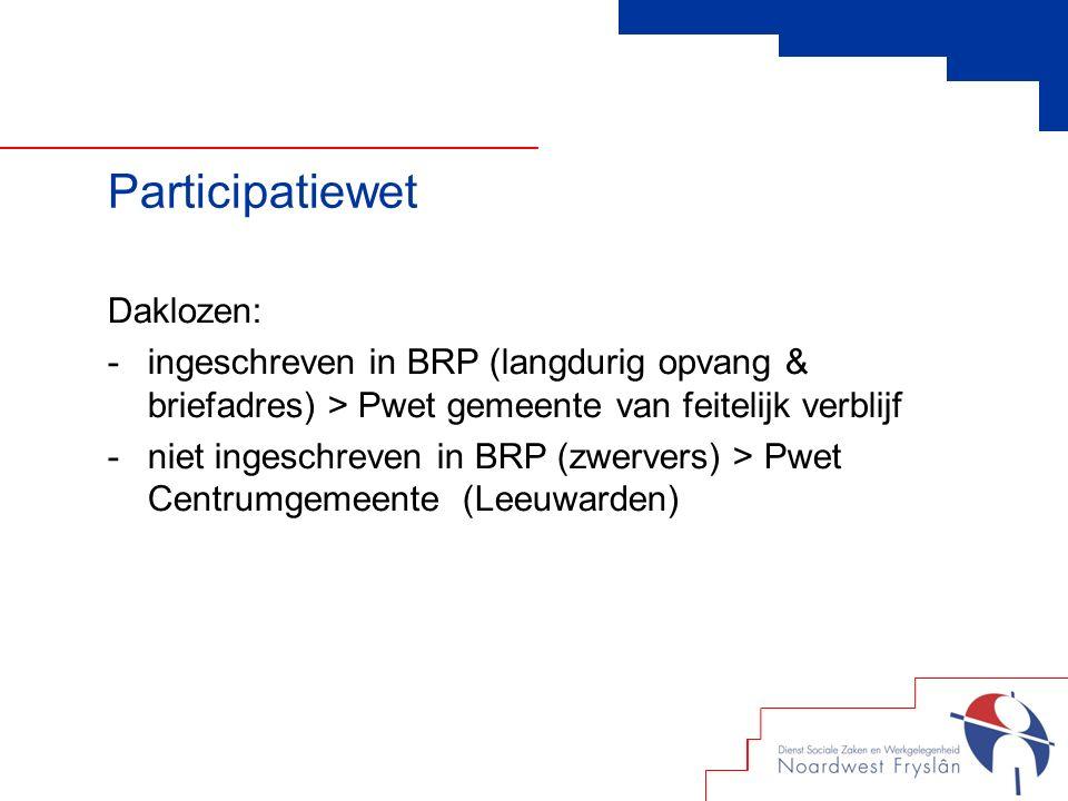 Daklozen: -ingeschreven in BRP (langdurig opvang & briefadres) > Pwet gemeente van feitelijk verblijf -niet ingeschreven in BRP (zwervers) > Pwet Centrumgemeente (Leeuwarden)