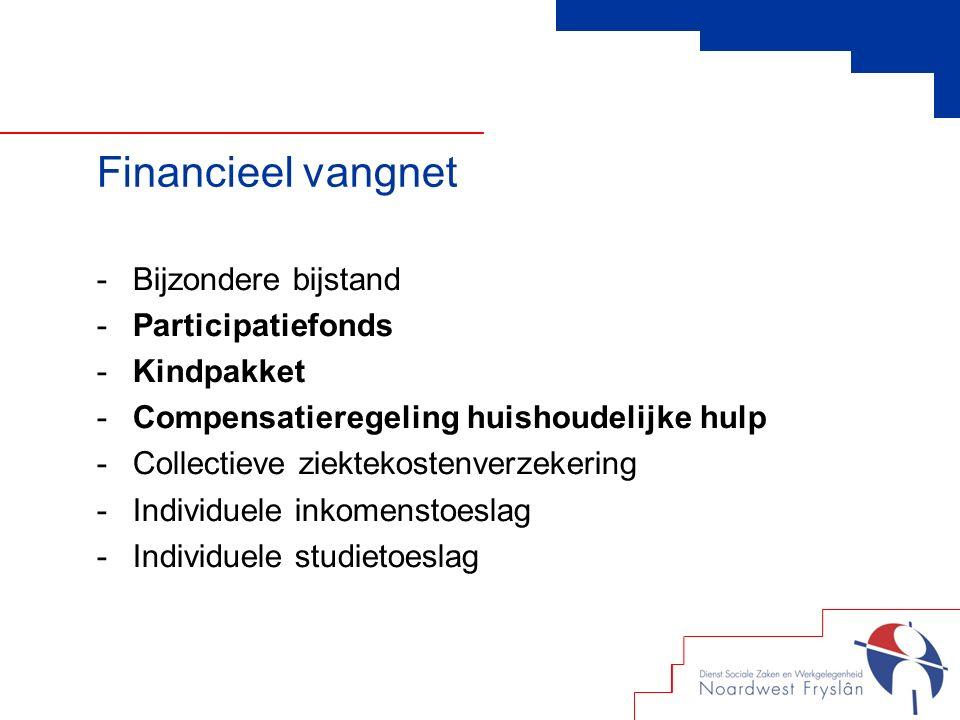 Financieel vangnet -Bijzondere bijstand -Participatiefonds -Kindpakket -Compensatieregeling huishoudelijke hulp -Collectieve ziektekostenverzekering -Individuele inkomenstoeslag -Individuele studietoeslag
