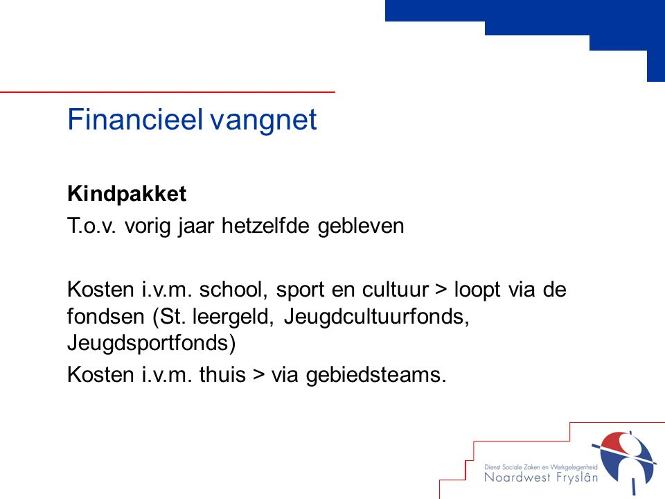 Financieel vangnet Kindpakket T.o.v. vorig jaar hetzelfde gebleven Kosten i.v.m.