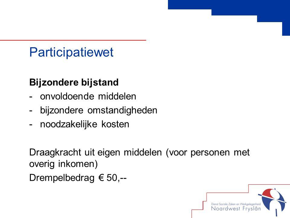 Bijzondere bijstand -onvoldoende middelen -bijzondere omstandigheden -noodzakelijke kosten Draagkracht uit eigen middelen (voor personen met overig inkomen) Drempelbedrag € 50,-- Participatiewet
