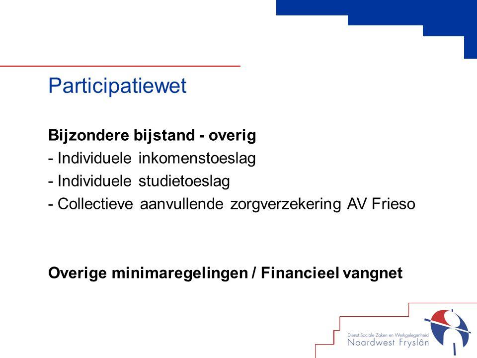 Bijzondere bijstand - overig - Individuele inkomenstoeslag - Individuele studietoeslag - Collectieve aanvullende zorgverzekering AV Frieso Overige minimaregelingen / Financieel vangnet Participatiewet