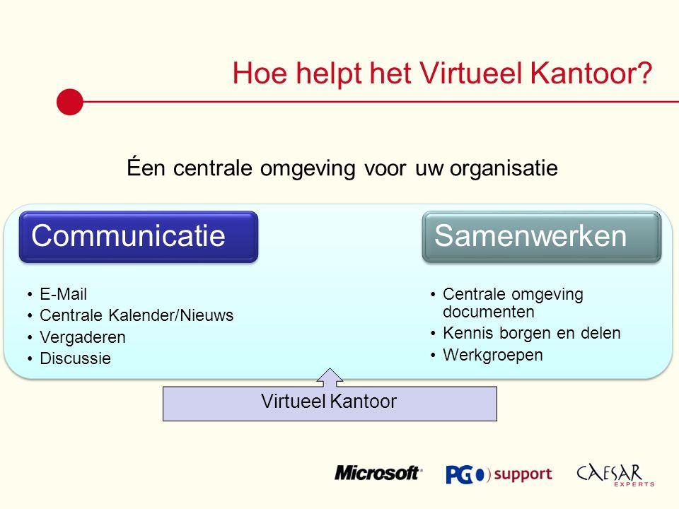 Éen centrale omgeving voor uw organisatie Hoe helpt het Virtueel Kantoor Virtueel Kantoor