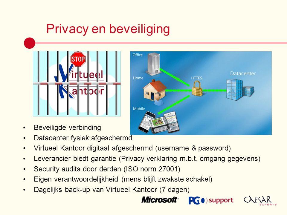 Privacy en beveiliging Beveiligde verbinding Datacenter fysiek afgeschermd Virtueel Kantoor digitaal afgeschermd (username & password) Leverancier biedt garantie (Privacy verklaring m.b.t.