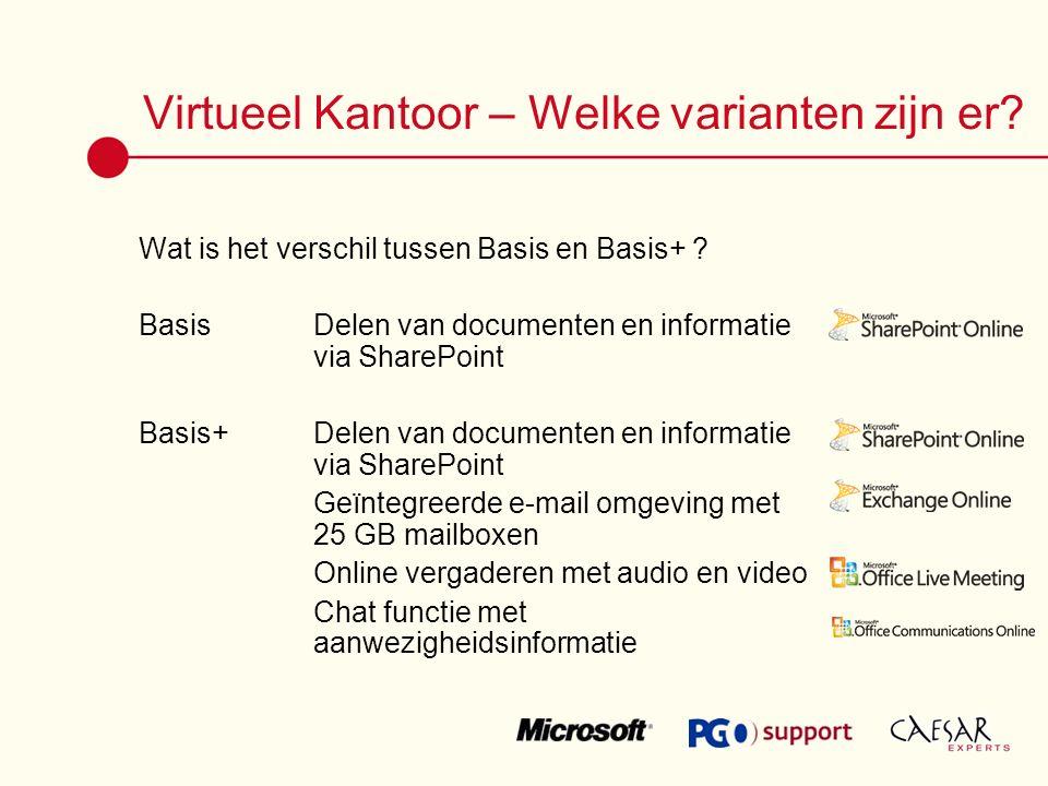 Virtueel Kantoor – Welke varianten zijn er. Wat is het verschil tussen Basis en Basis+ .