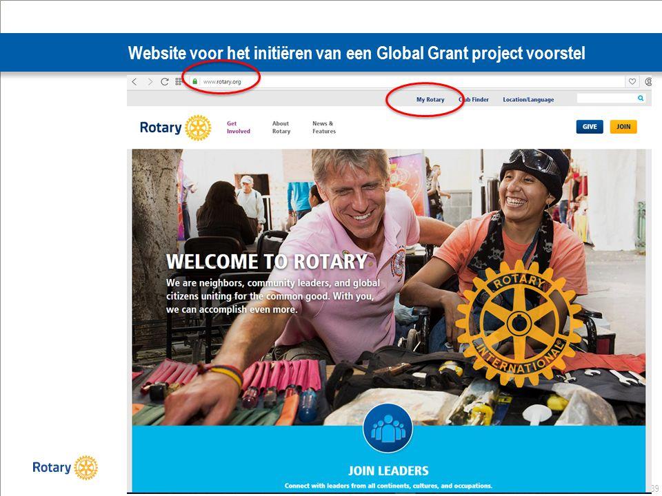 39 Website voor het initiëren van een Global Grant project voorstel