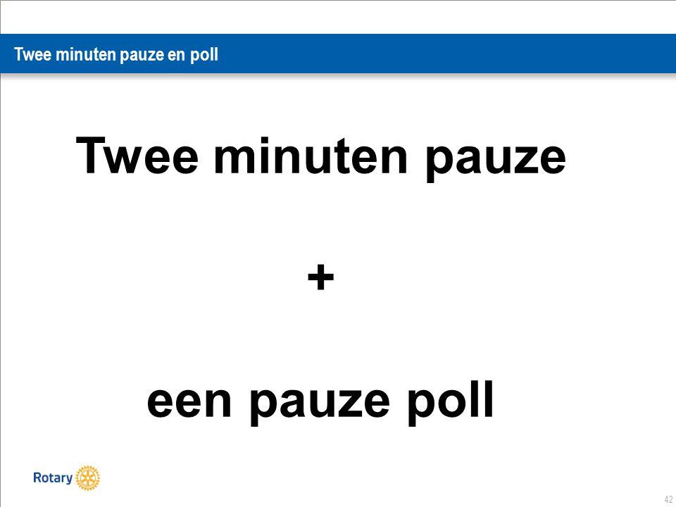 42 Twee minuten pauze en poll Twee minuten pauze + een pauze poll