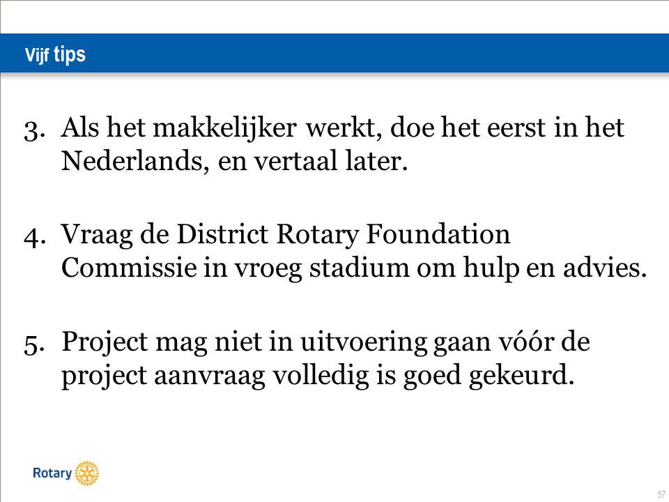 57 Vijf tips 3.Als het makkelijker werkt, doe het eerst in het Nederlands, en vertaal later.