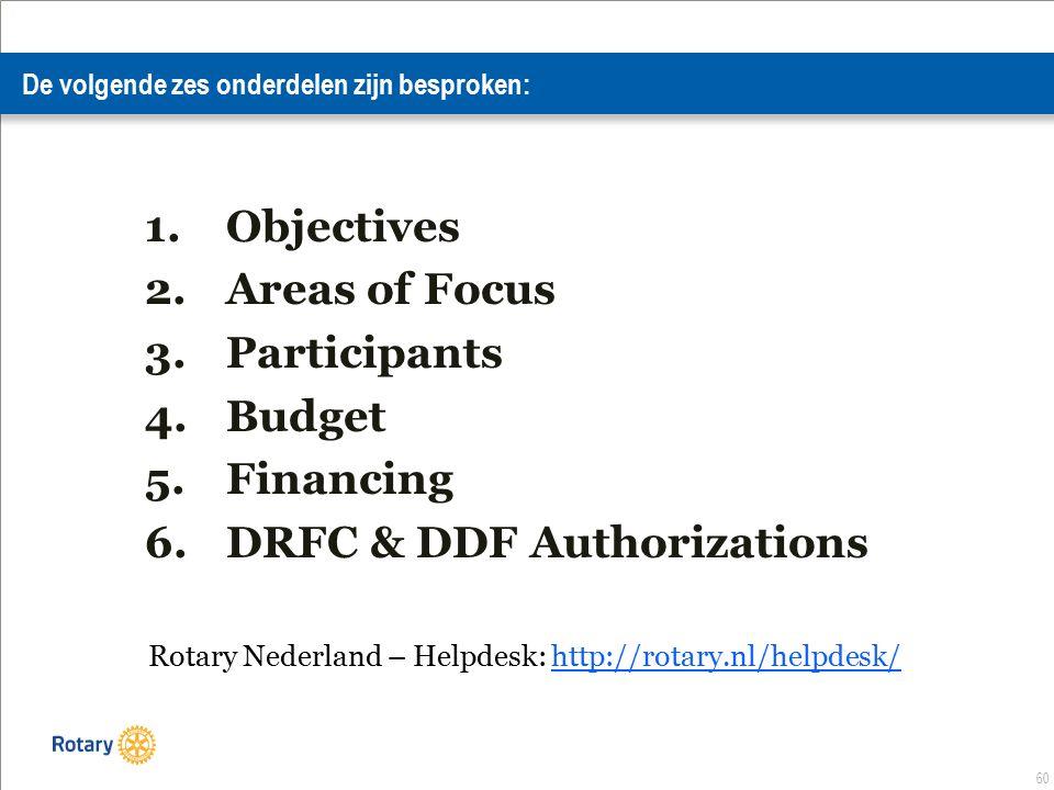 60 De volgende zes onderdelen zijn besproken: 1.Objectives 2.Areas of Focus 3.Participants 4.Budget 5.Financing 6.DRFC & DDF Authorizations Rotary Nederland – Helpdesk: http://rotary.nl/helpdesk/