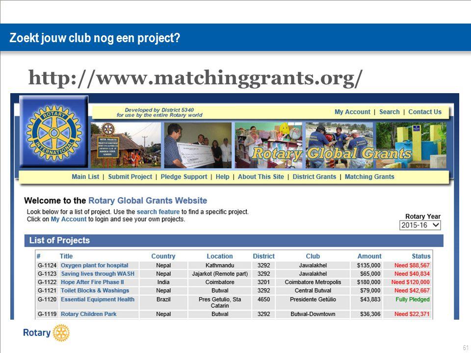 61 Zoekt jouw club nog een project http://www.matchinggrants.org/