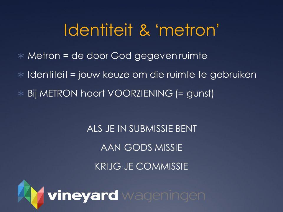Identiteit & 'metron'  Metron = de door God gegeven ruimte  Identiteit = jouw keuze om die ruimte te gebruiken  Bij METRON hoort VOORZIENING (= gun