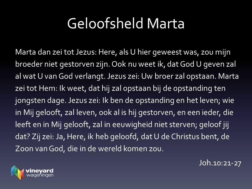 Geloofsheld Marta Marta dan zei tot Jezus: Here, als U hier geweest was, zou mijn broeder niet gestorven zijn.