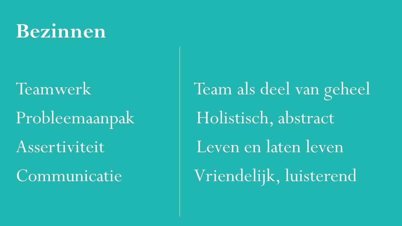 Bezinnen Teamwerk Team als deel van geheel Probleemaanpak Holistisch, abstract Assertiviteit Leven en laten leven Communicatie Vriendelijk, luisterend