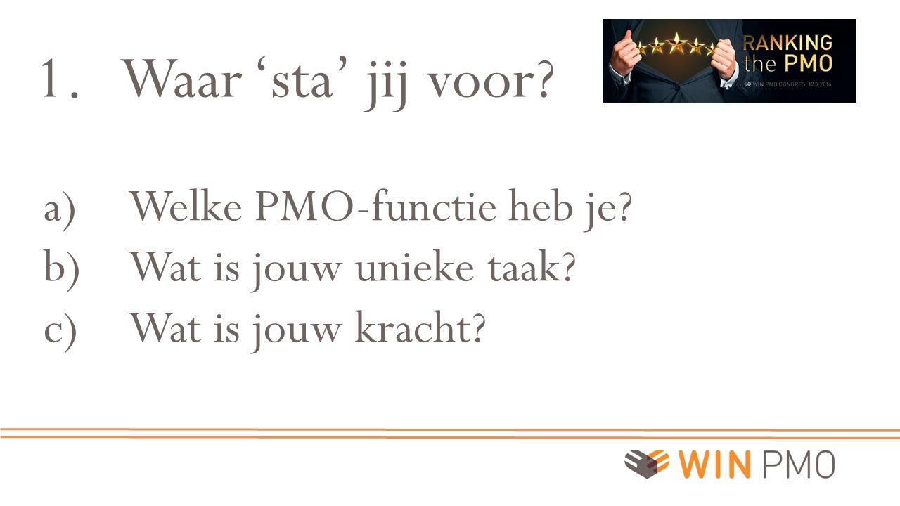 1.Waar 'sta' jij voor? a)Welke PMO-functie heb je? b)Wat is jouw unieke taak? c)Wat is jouw kracht?
