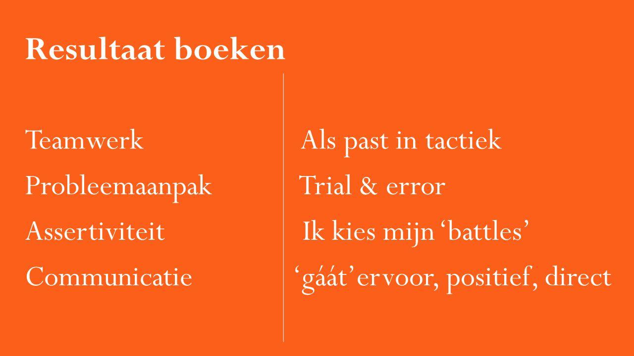 Resultaat boeken Teamwerk Als past in tactiek Probleemaanpak Trial & error Assertiviteit Ik kies mijn 'battles' Communicatie 'gáát'ervoor, positief, d