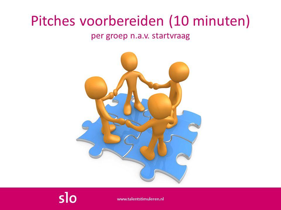 Pitches voorbereiden (10 minuten) per groep n.a.v. startvraag www.talentstimuleren.nl