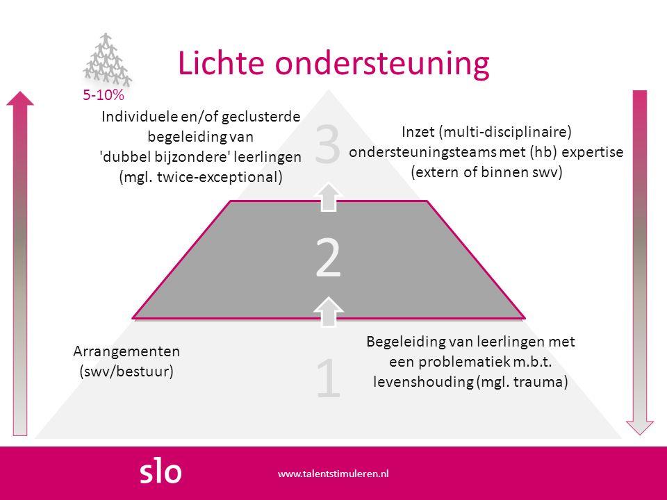 Lichte ondersteuning www.talentstimuleren.nl 3 2 1 Individuele en/of geclusterde begeleiding van dubbel bijzondere leerlingen (mgl.