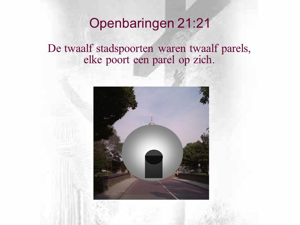 De twaalf stadspoorten waren twaalf parels, elke poort een parel op zich. Openbaringen 21:21
