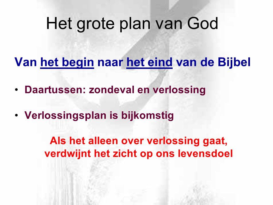 Het grote plan van God Van het begin naar het eind van de Bijbel Daartussen: zondeval en verlossing Verlossingsplan is bijkomstig Als het alleen over