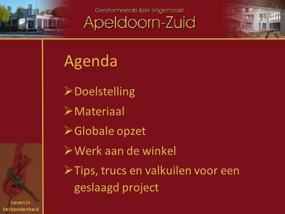 Leven in Verbondenheid Agenda  Doelstelling  Materiaal  Globale opzet  Werk aan de winkel  Tips, trucs en valkuilen voor een geslaagd project