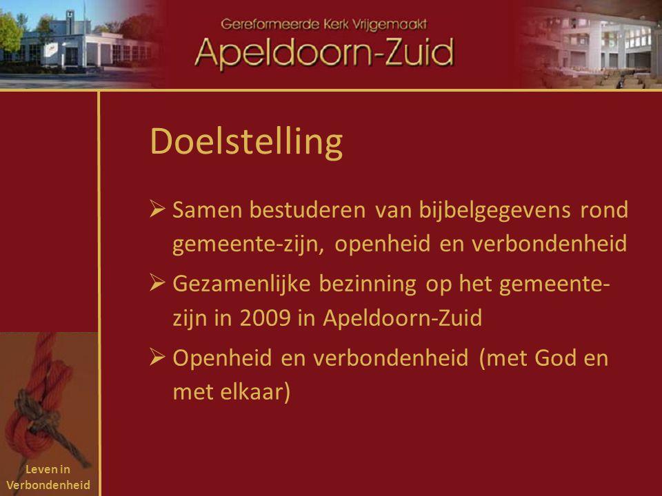 Leven in Verbondenheid Doelstelling  Samen bestuderen van bijbelgegevens rond gemeente-zijn, openheid en verbondenheid  Gezamenlijke bezinning op het gemeente- zijn in 2009 in Apeldoorn-Zuid  Openheid en verbondenheid (met God en met elkaar)