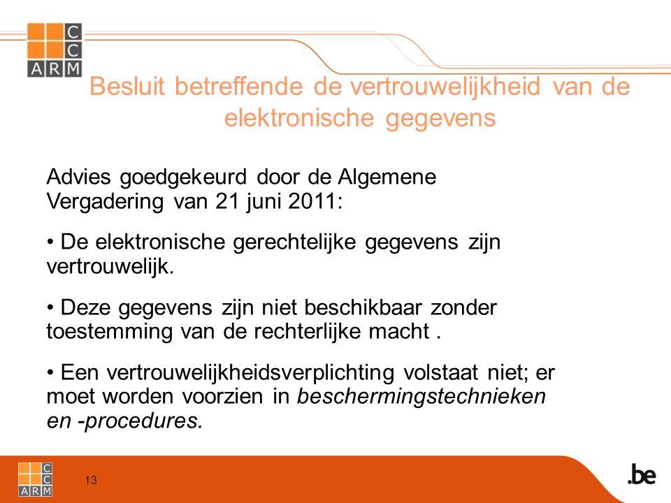 13 Besluit betreffende de vertrouwelijkheid van de elektronische gegevens Advies goedgekeurd door de Algemene Vergadering van 21 juni 2011: De elektronische gerechtelijke gegevens zijn vertrouwelijk.