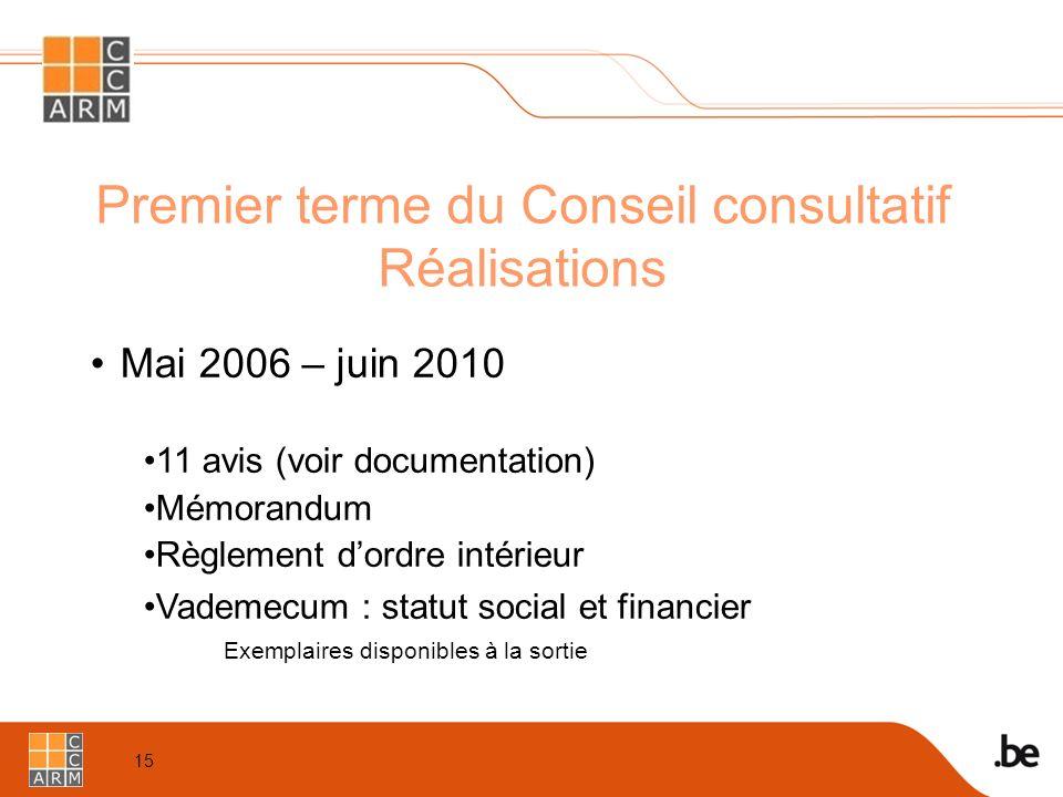 15 Premier terme du Conseil consultatif Réalisations Mai 2006 – juin 2010 11 avis (voir documentation) Mémorandum Règlement d'ordre intérieur Vademecum : statut social et financier Exemplaires disponibles à la sortie