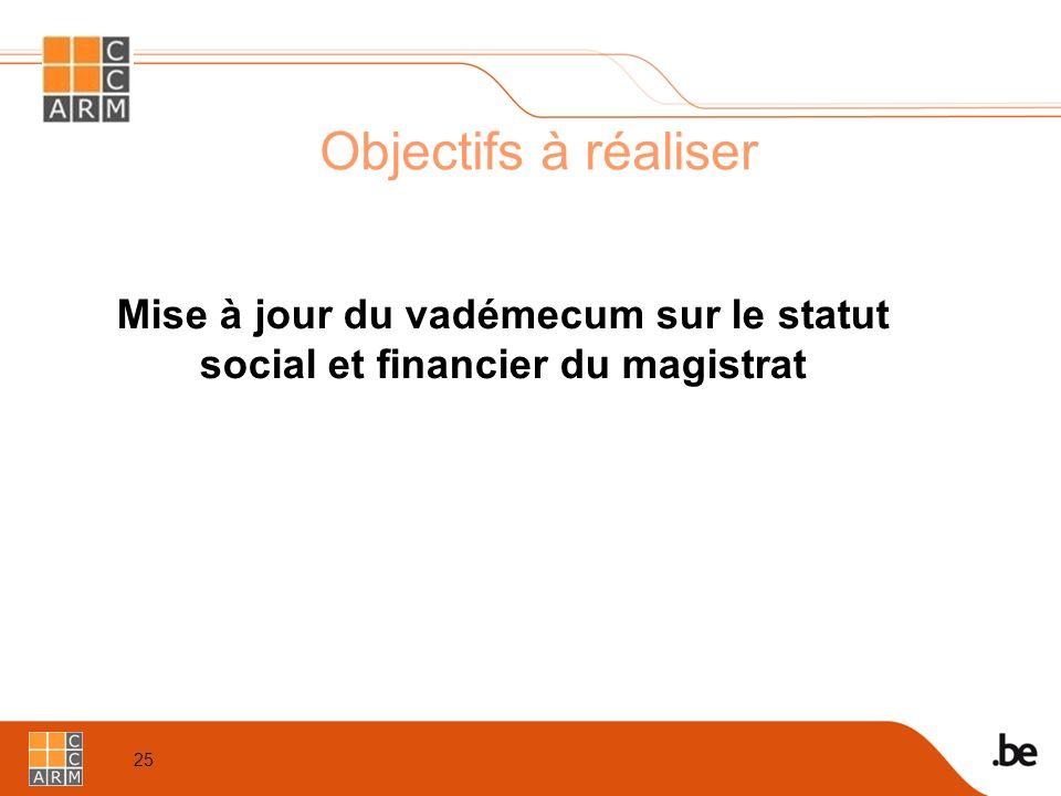 25 Objectifs à réaliser Mise à jour du vadémecum sur le statut social et financier du magistrat