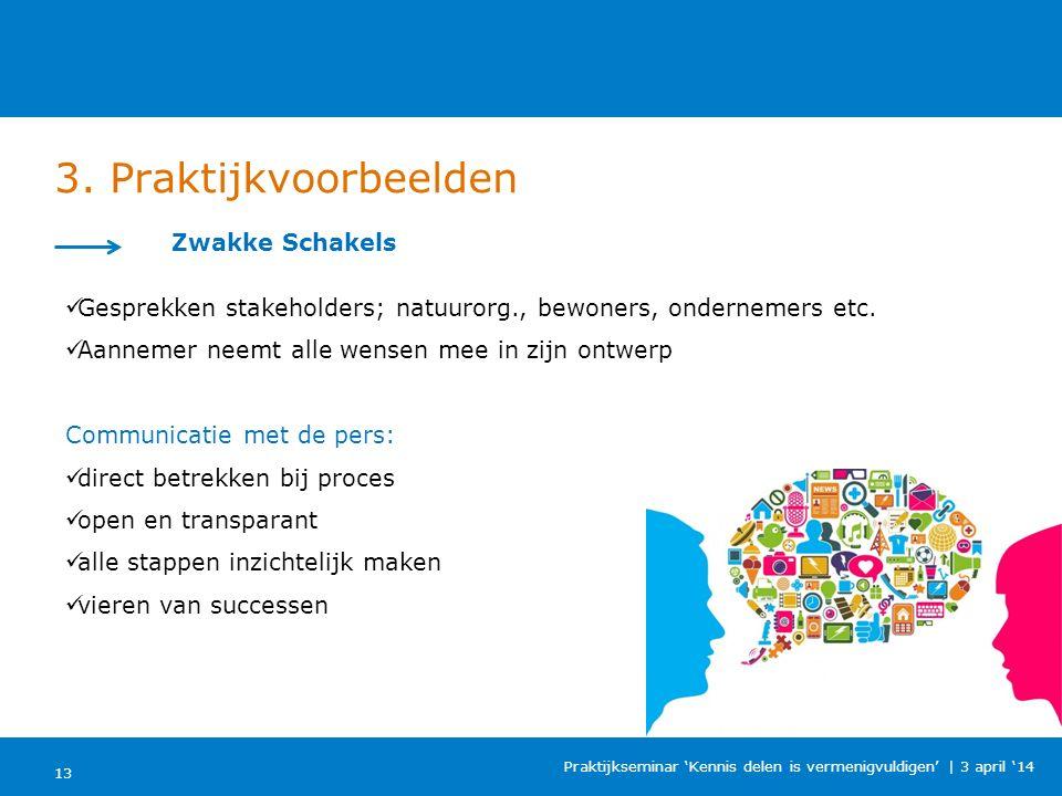 3. Praktijkvoorbeelden 13 Praktijkseminar 'Kennis delen is vermenigvuldigen'   3 april '14 Zwakke Schakels Gesprekken stakeholders; natuurorg., bewone