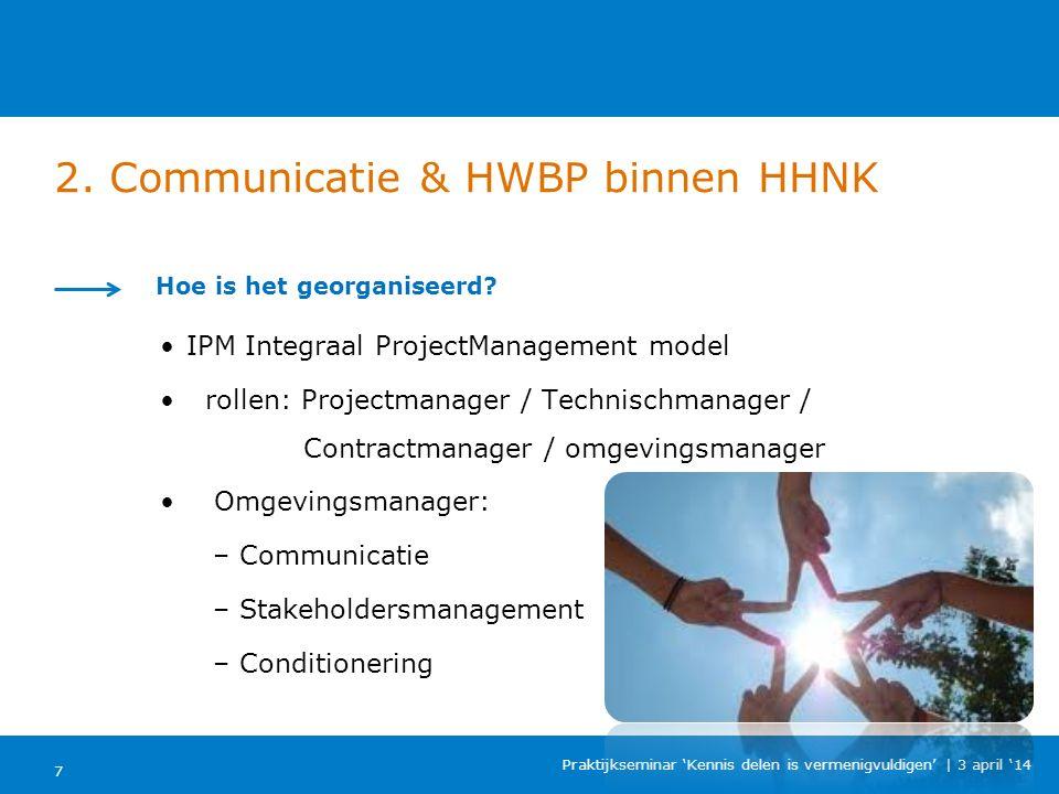 2. Communicatie & HWBP binnen HHNK 7 Praktijkseminar 'Kennis delen is vermenigvuldigen'   3 april '14 Hoe is het georganiseerd? IPM Integraal ProjectM