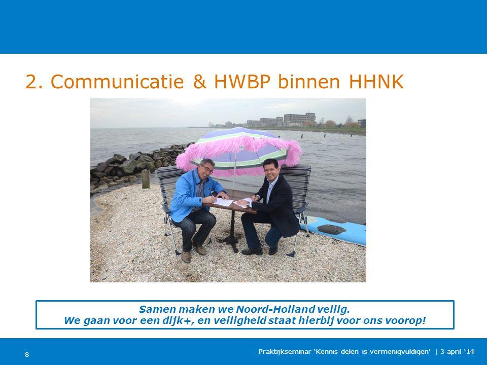 2. Communicatie & HWBP binnen HHNK 8 Praktijkseminar 'Kennis delen is vermenigvuldigen'   3 april '14 Samen maken we Noord-Holland veilig. We gaan voo