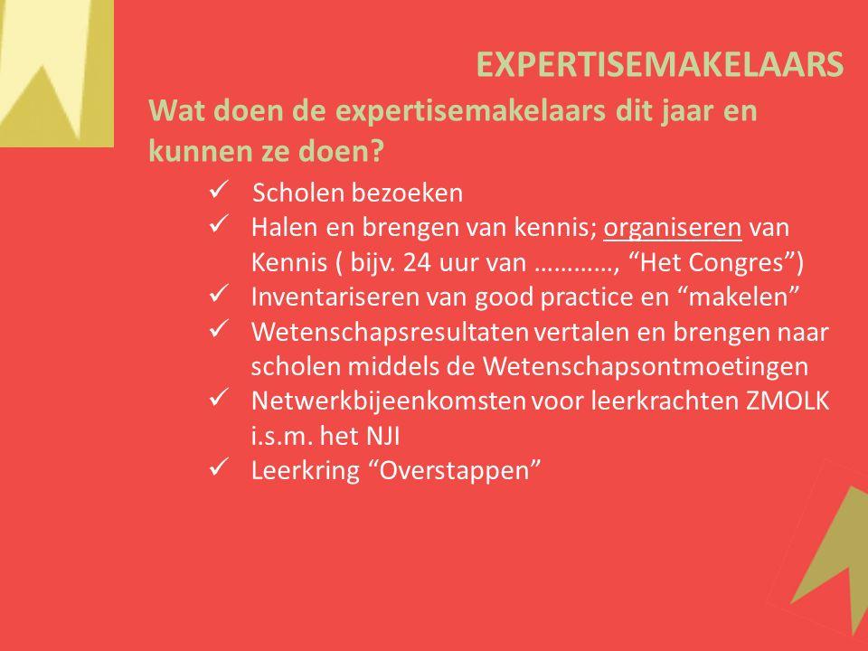 EXPERTISEMAKELAARS Scholen bezoeken Halen en brengen van kennis; organiseren van Kennis ( bijv.