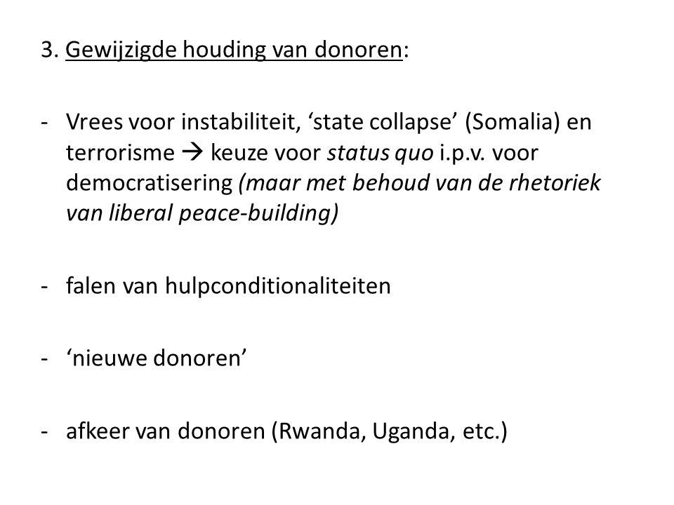 3. Gewijzigde houding van donoren: -Vrees voor instabiliteit, 'state collapse' (Somalia) en terrorisme  keuze voor status quo i.p.v. voor democratise