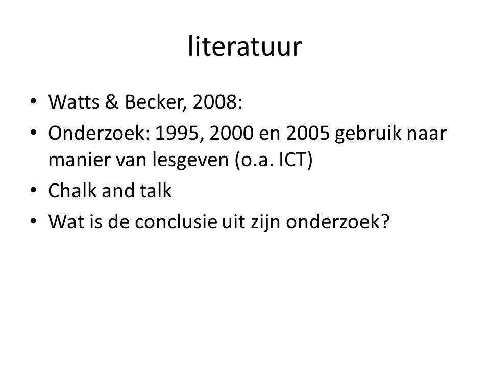 literatuur Watts & Becker, 2008: Onderzoek: 1995, 2000 en 2005 gebruik naar manier van lesgeven (o.a.