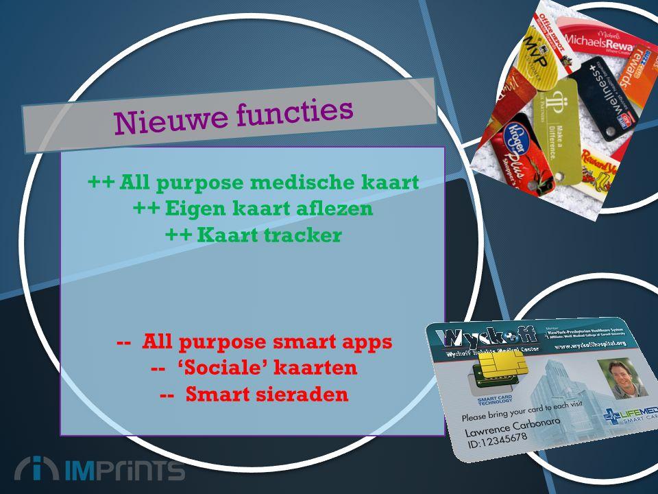 ++All purpose medische kaart ++Eigen kaart aflezen ++Kaart tracker --All purpose smart apps --'Sociale' kaarten --Smart sieraden Nieuwe functies